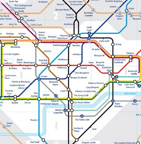london underground map of restaurants table crowd blog